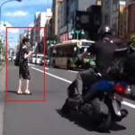 【新大久保】女性が車道を横断!バイク転倒するも無視して立ち去る【新宿区百人町】